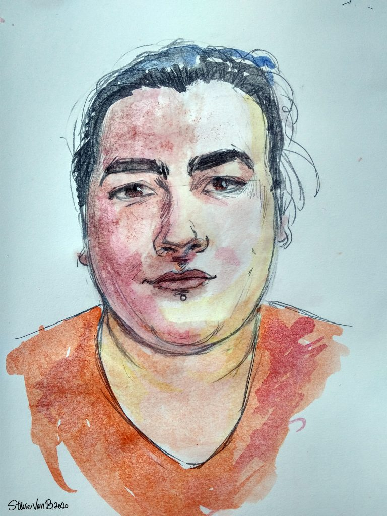 Pencil drawing with watercolors, a self-portrait of a brunette white woman with freckles and a double chin, wearing her hair back so it looks short in the picture and an orange shirt. She has brown eyes and a labret piercing centered under her lower lip.