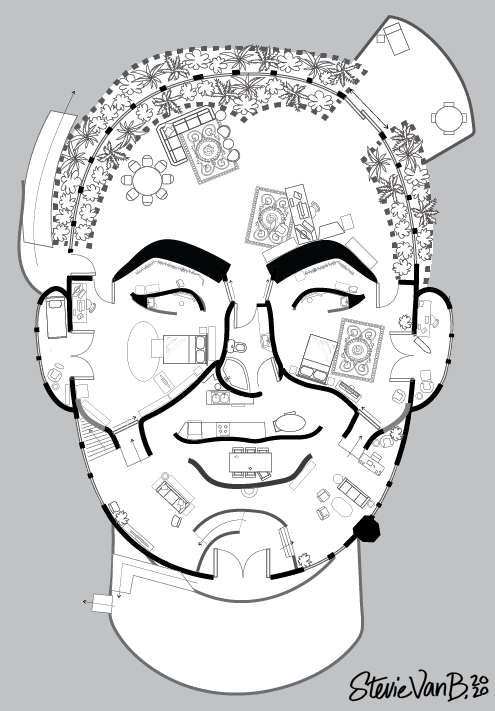 A vecotr drawing of a floorplan that looks like a human face.