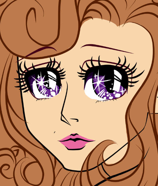 Close up of anime style female character with sparkling eyes