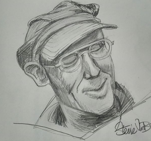 A pencil sketch of a middle aged white man with glasses and a jocular expression.