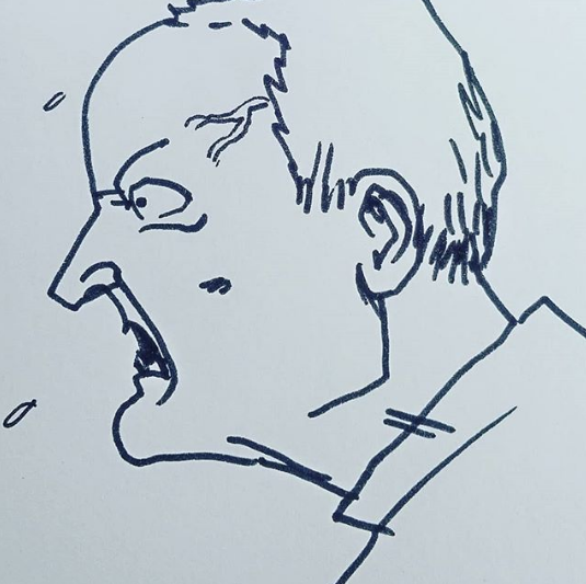 a pen sketch of an actor shouting in anger
