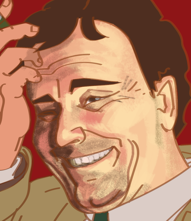half-finished, close up portrait photoshop painting of Peter Falk as Columbo