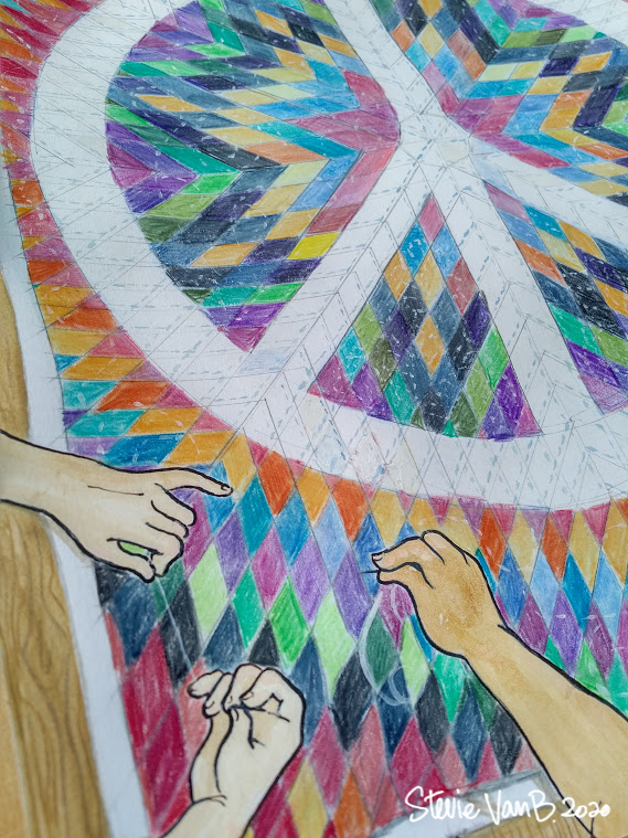 Second close up photo of artwork depicting a number of hands stitching together a quilt with a large peace sign design.