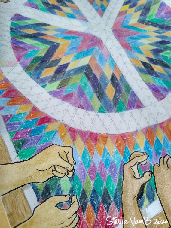 Close up photo of artwork depicting a number of hands stitching together a quilt with a large peace sign design.