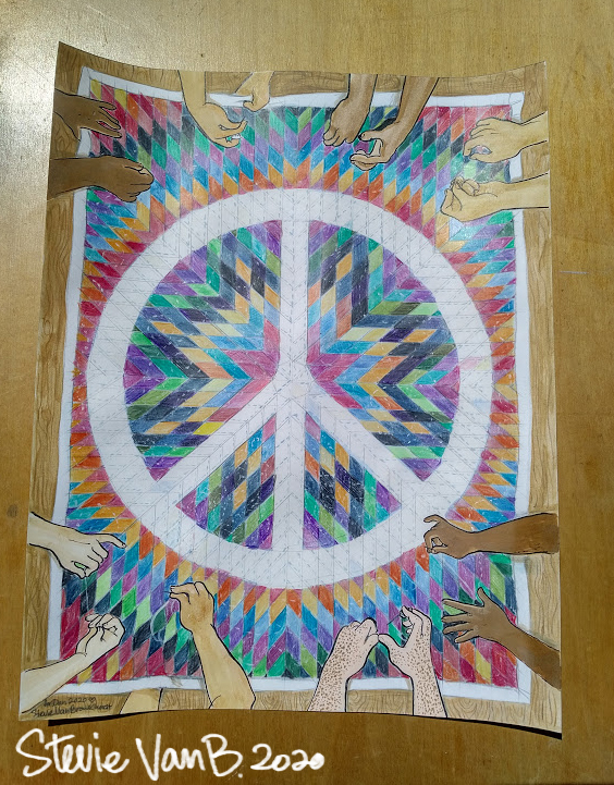 Snapshot of unframed artwork depicting a number of hands stitching together a quilt with a large peace sign design.