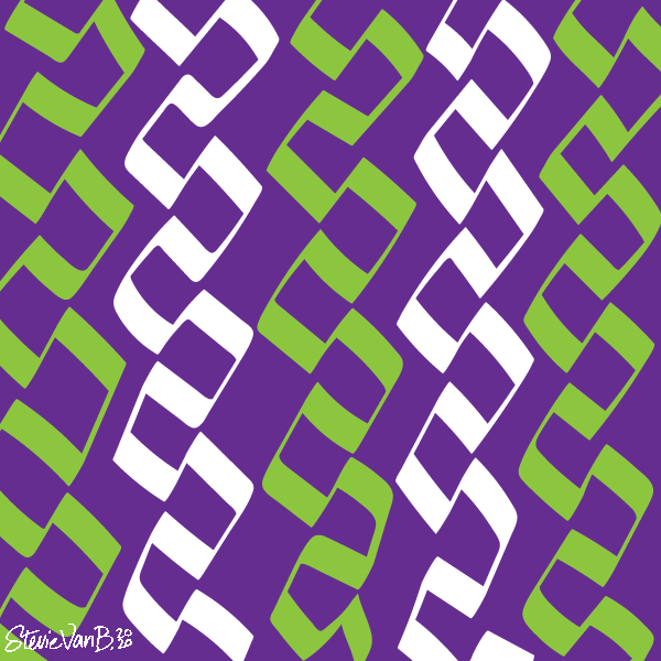 Color field of lurid green and white lines snakingback towards and away from themselves with sharp angles on a purple background.