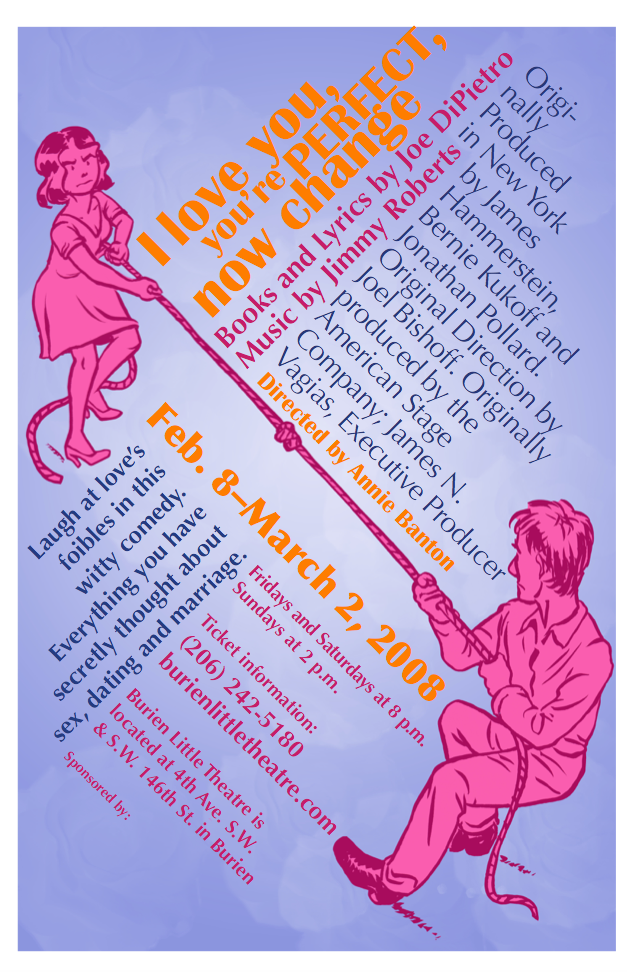 Backstage Actors Theatre poster for I Love You, You're Perfect, Now Change, 2008