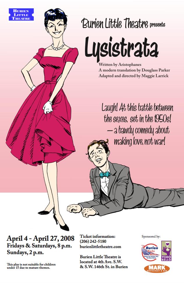 Backstage Actors Theatre poster for Lysistrata, 2008