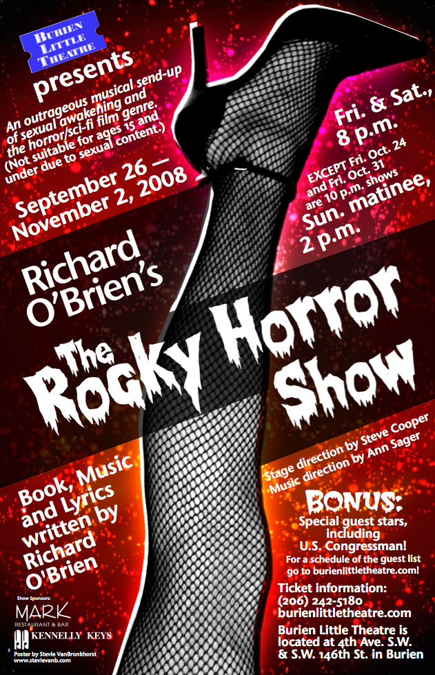 Backstage Actors Theatre poster for The Rocky Horror Show, 2008