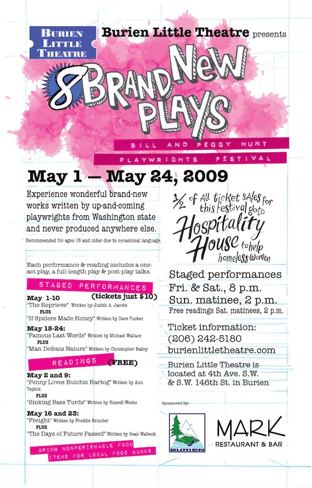 Backstage Actors Theatre poster for biannual playwrights festival, 2009