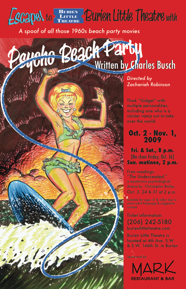 Backstage Actors Theatre poster for Psycho Beach Party, 2009
