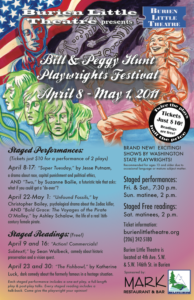 Backstage Actors Theatre poster for biannual playwrights festival, 2011