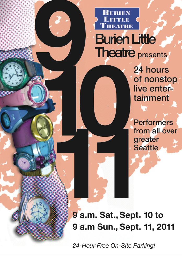 Backstage Actors Theatre poster for a 24-hour fundraiser, 2011