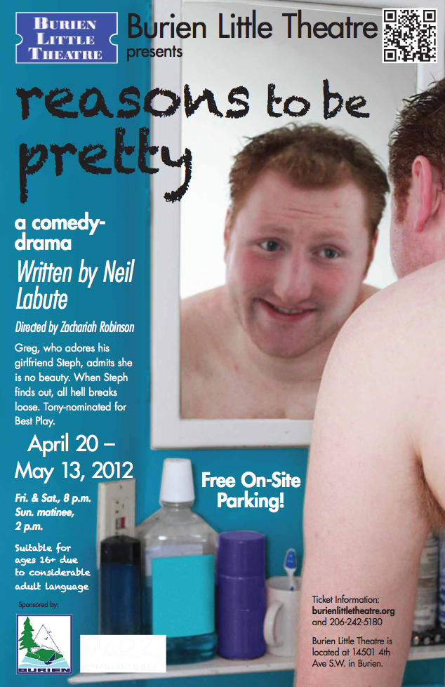 Backstage Actors Theatre poster for Reasons to Be Pretty, 2012