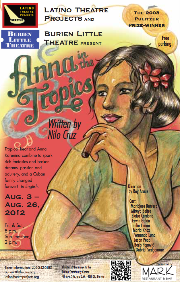 Backstage Actors Theatre poster for Anna in the Tropics, 2012