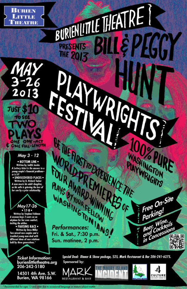 Backstage Actors Theatre poster for biannual playwrights festival, 2013