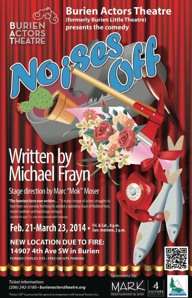 Backstage Actors Theatre poster for Noises Off, 2014