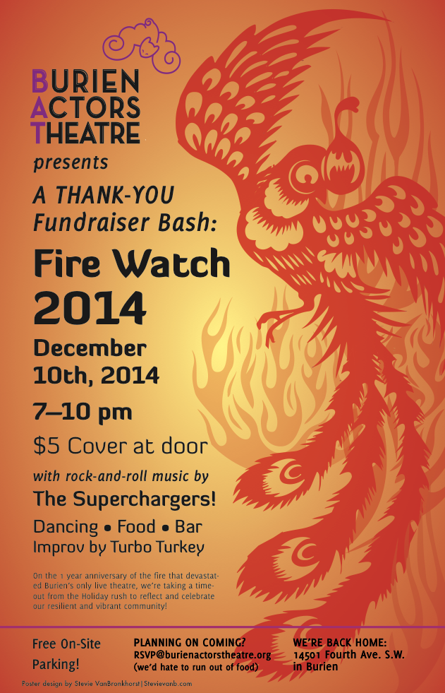 Backstage Actors Theatre poster for the post-fire fundraiser, 2014