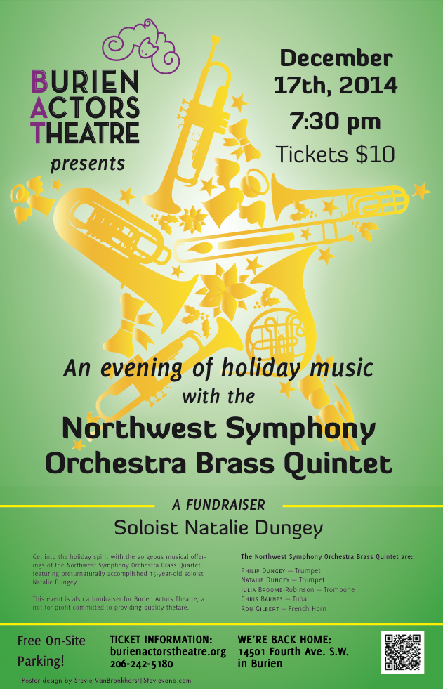 Backstage Actors Theatre poster for Holiday Brass Concert, 2014