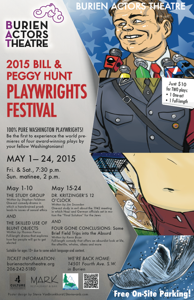 Backstage Actors Theatre poster for the biannual playwrights festival, 2015