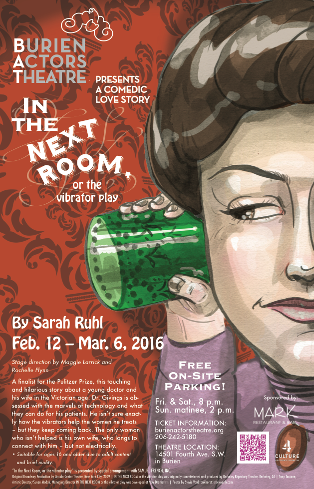 Backstage Actors Theatre poster for in the Next Room, 2016