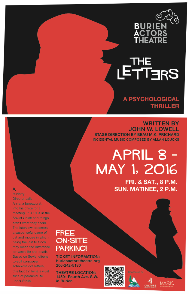 Backstage Actors Theatre poster for The Letters, 2016