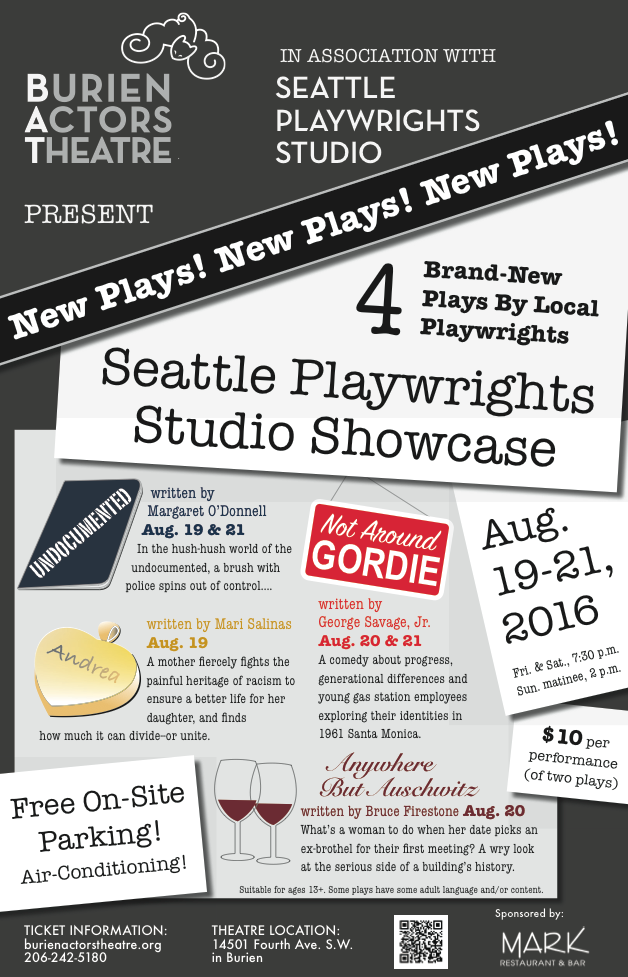 Backstage Actors Theatre poster for the Seattle Playwrights Studio Showcase, 2016