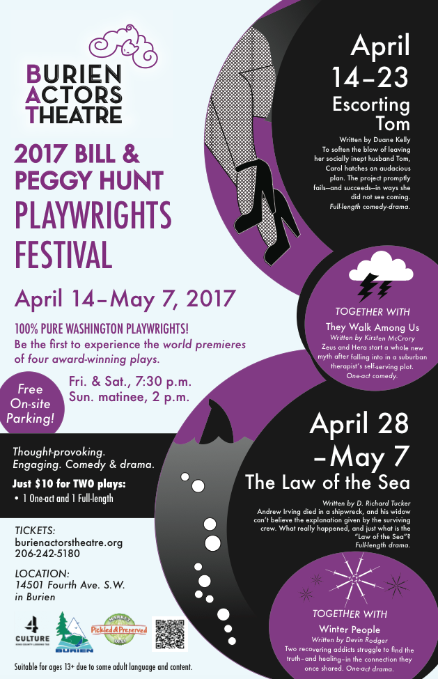 Backstage Actors Theatre poster for the Biannual Playwrights Festival, 2017