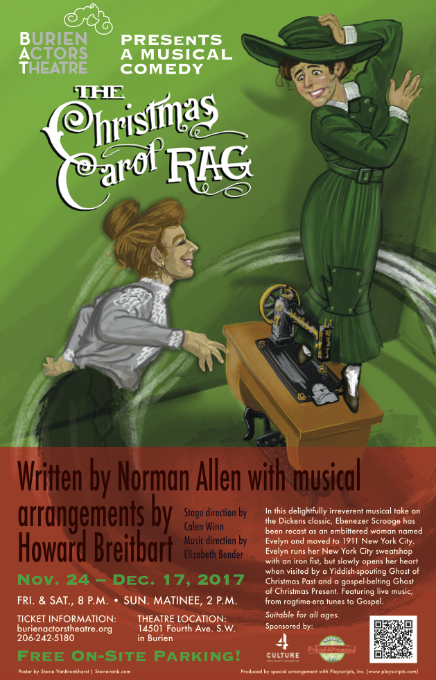 Backstage Actors Theatre poster for The Christmas Carol Rag, 2017