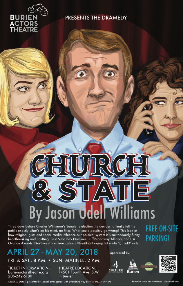 Backstage Actors Theatre poster for Church and State, 2018