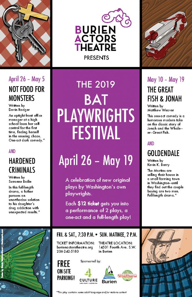 Backstage Actors Theatre poster for BiAnnual Playwrights Festival, 2019
