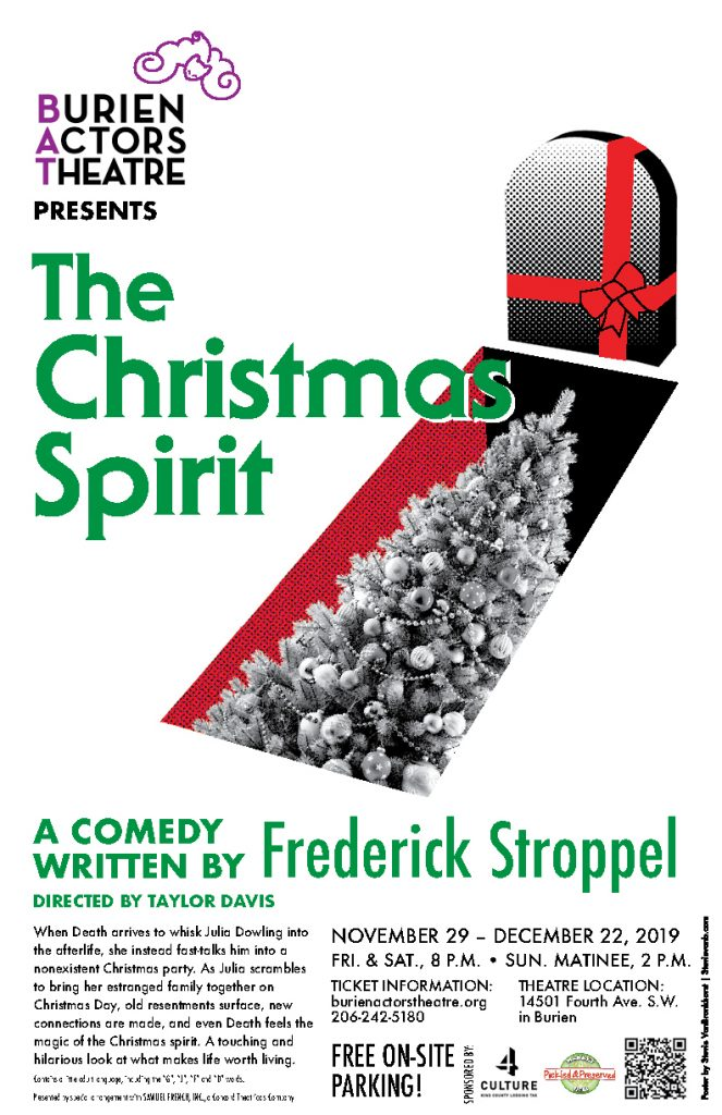 Theatre poster for The Christmas Spirit, 2019