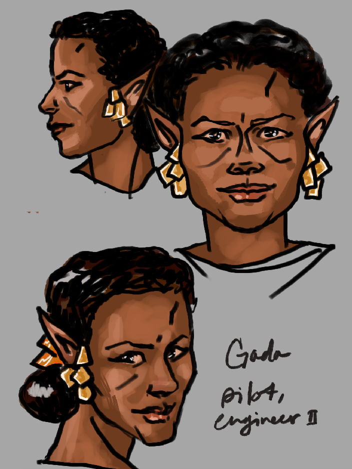 Photoshop painting of a space elf woman with elaborate earrings..