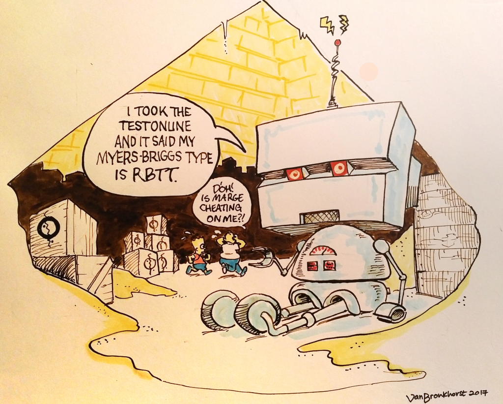 """Ink drawing of a cube-head robot sitting in a pyramid amidst crates of cigars from the TinTin comics. Homer and Bart simpson run around in the background, Homer is worried his wife is cheating on him. The robot informs us """"I took the myers briggs test and my personality type is RBTT."""""""