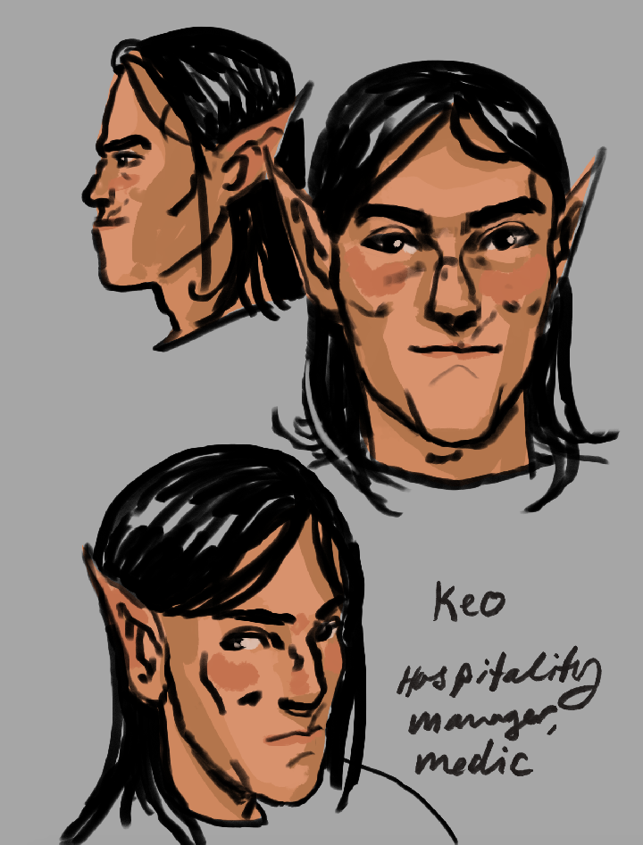 Photoshop painting of a space elf with shoulder length hair and an underbite.