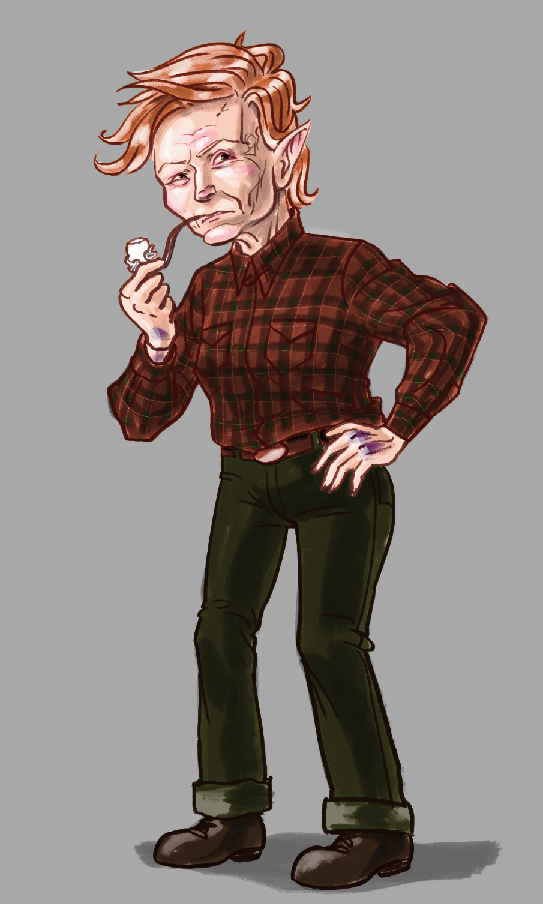 Photoshop full body drawing of an elfin white woman smoking a pipe.