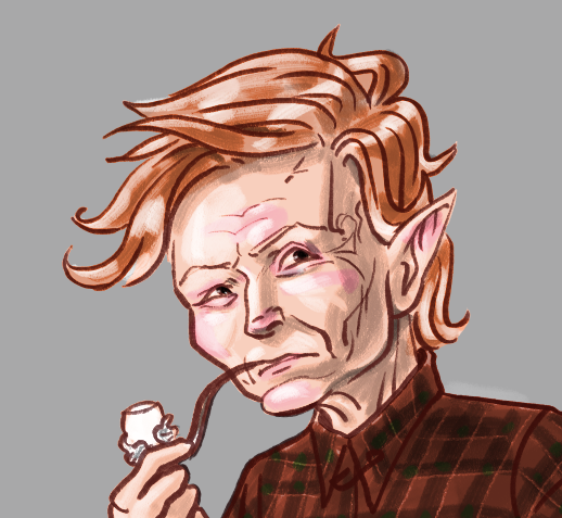 Photoshop portrait of an elfin old white woman smoking a pipe